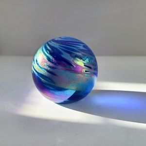 Vintage Iridescent Art Glass Globe Paperweight